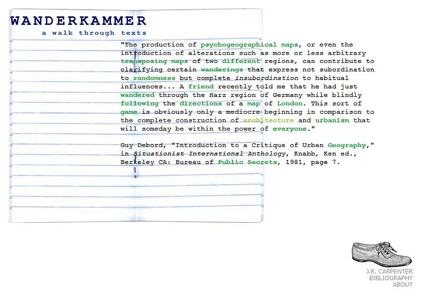 Wanderkammer :: A Walk Through Texts | J. R. Carpenter